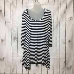 Soft Surroundings Scoop Neck Striped Tunic Top L
